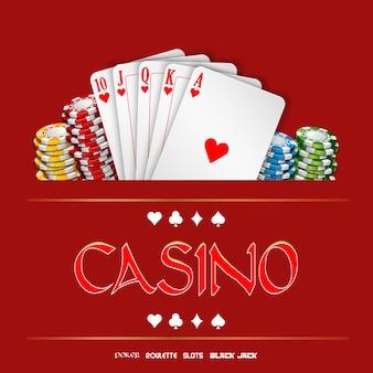 Casinoachtergrond met spaanders en speelkaarten