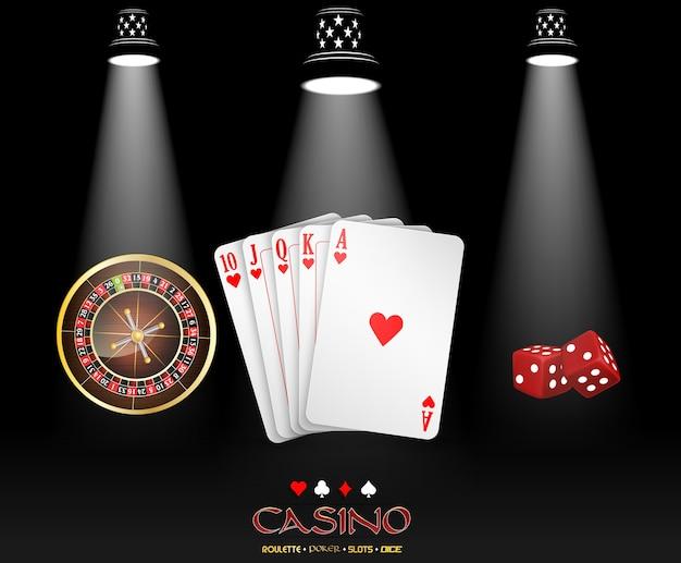Casinobanner met het ontwerp van het schijnwerpercasino