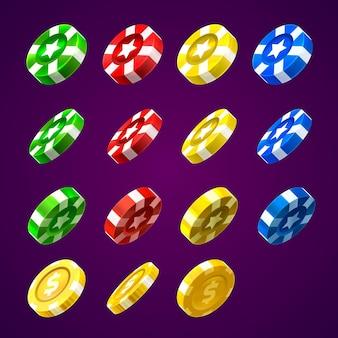 Casinofiches en munten kleurenset. vector illustratie kleur collectie
