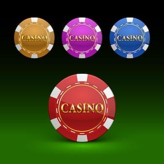 Casinofiches kleurenset. vector illustratie kleur collectie