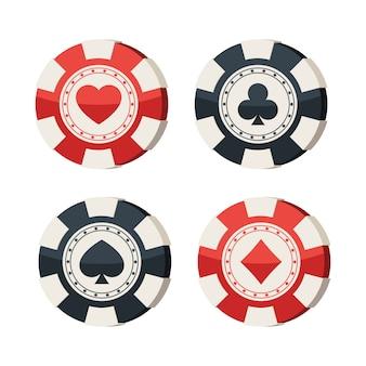 Casinofiches met kaartpakken