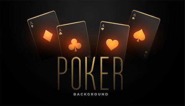 Casinokaarten spelen in zwarte en gloeiende gouden kleur