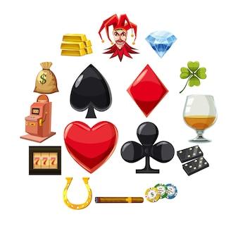 Casinopictogrammen geplaatst symbolen, cartoonstijl