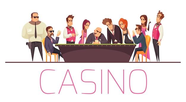 Casinosamenstelling met tekst en vlakke stripfiguren van speelmensenbeveiliging en bankier