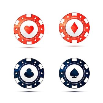 Casinospaanders met de symbolen van kaartkostuums die op wit worden geïsoleerd