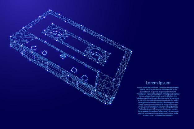 Cassette-audioband met magnetische film van futuristische veelhoekige blauwe lijnen en gloeiende sterren voor banner, poster, wenskaart. illustratie.