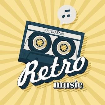 Cassette bandje. retro-muziek. poster voor een retro feest
