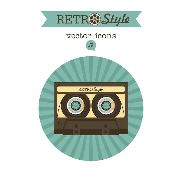 Cassette bandje. vector vintage pictogram logo.