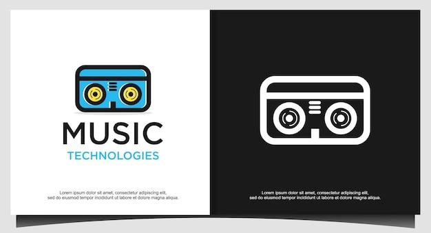 Cassette tape logo ontwerpsjabloon