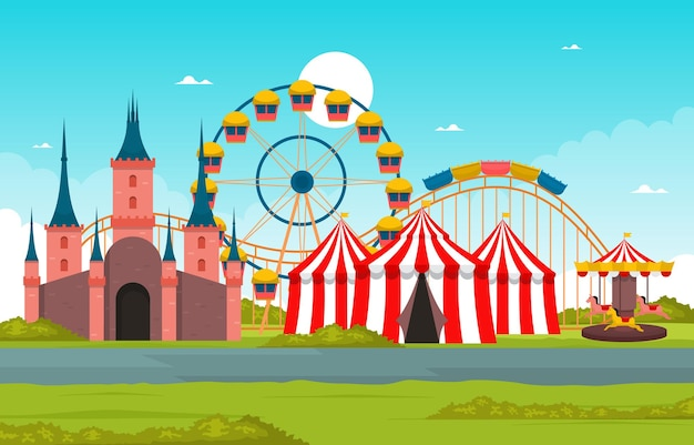 Castle ferris wheel amusement park happy holiday illustration