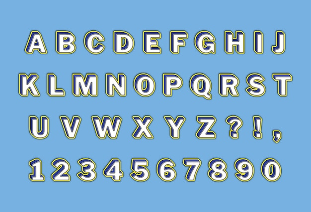 Casual 3d vetgedrukte alfabetten nummers instellen