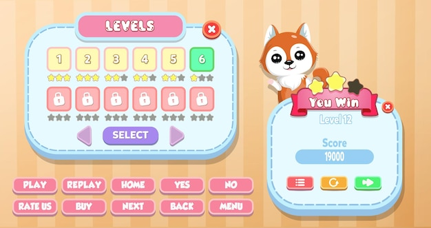 Casual cartoon kids game ui level selection en you win menu pop-up met sterren, knoppen en kat