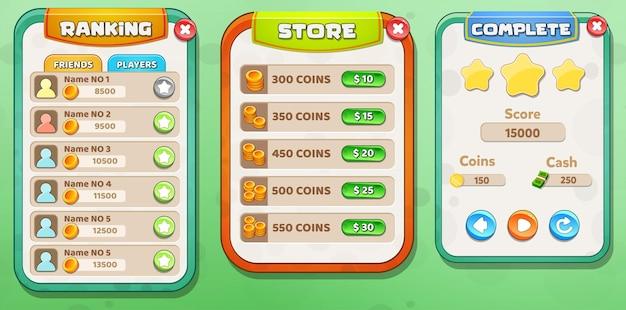 Casual cartoon kids game ui ranking, store en level compleet menu pop-up met sterrenknoppen