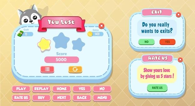 Casual cartoon kids game ui you lose, rate us and exit menu pop-up met sterren, knoppen en kat
