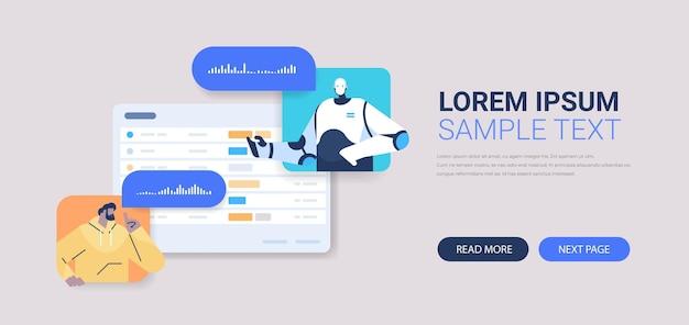 Casual man chatten met chatbot robot assistent door spraakberichten banner