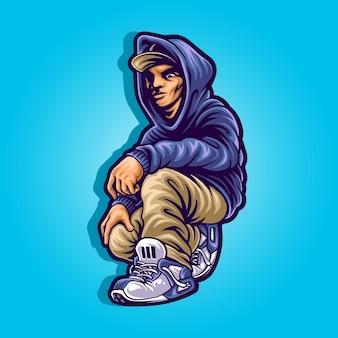 Casual man in pose mascotte illustratie