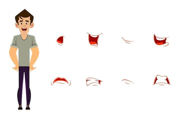 Casual man stripfiguur met verschillende gezichtsuitdrukkingen set. verschillende emoties voor aangepaste animatie