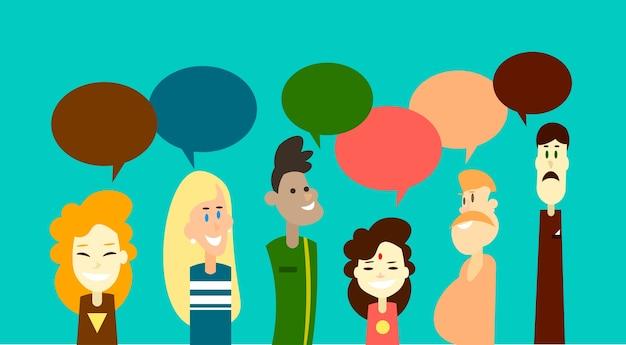 Casual mensen groep chat bubble communicatie sociaal netwerk