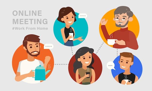 Casual online ontmoeting met vrienden concept illustratie. ontspannende jongeren die een koffiekop houden en via videoconferentie telefoneren. werk vanuit huis. platte ontwerpstijl stripfiguur.