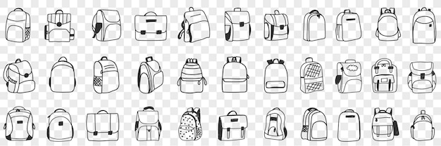Casual rugzakken accessoires doodle set