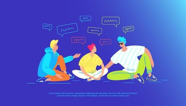 Casual vrienden praten en lachen samen. gradiënt vectorillustratie van drie jonge tieners zitten op de grond en chatten en hebben een live gesprek om verhalen te vertellen