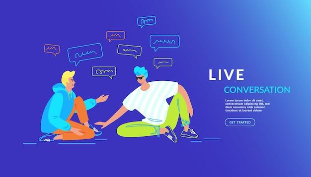 Casual vrienden praten en lachen samen. vectorillustratie met verloop van twee tienerjongens die op de grond zitten en chatten en een live gesprek voeren om verhalen te vertellen