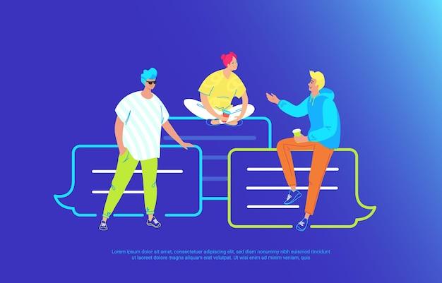 Casual vrienden praten en lachen samen zittend op tekstballonnen. vectorillustratie met kleurovergang van drie jonge tieners die op messenger-bubbels zitten, chatten en opmerkingen aan elkaar achterlaten