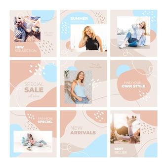 Casual vrouwelijk model instagram puzzel feed