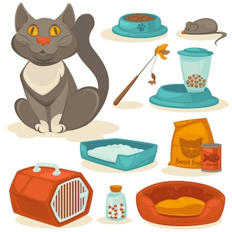 Cat accessoires set. dierbenodigdheden