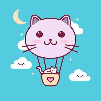 Cat balloon kawaii illustration