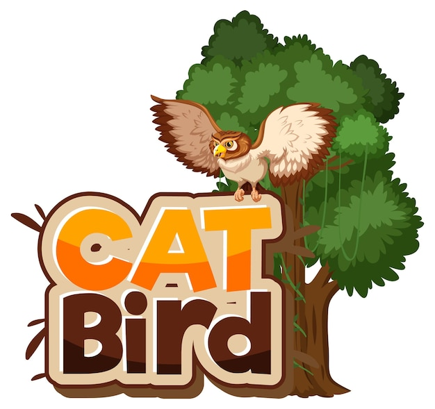 Cat bird lettertype banner met uil stripfiguur geïsoleerd