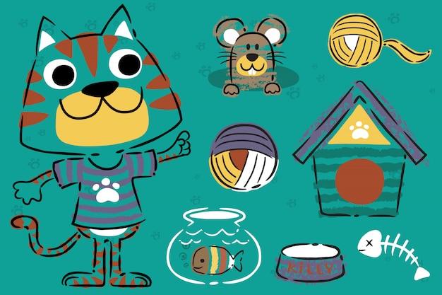 Cat care tools icon set in de hand getekende stijl