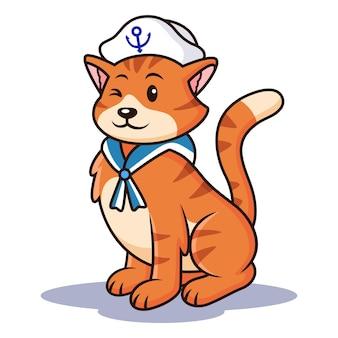 Cat cartoon met zeeman kostuum