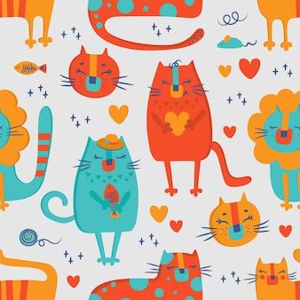 Cat circus hand getekend plat ontwerp grunge stijl cartoon schattige dieren naadloze patroon vectorillustratie om af te drukken