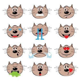 Cat emojis set op een witte achtergrond