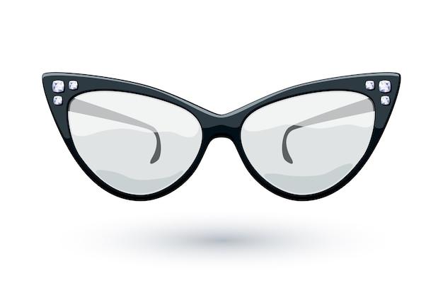 Cat eye zwarte retro bril met diamanten edelstenen illustratie. oog slijtage logo.