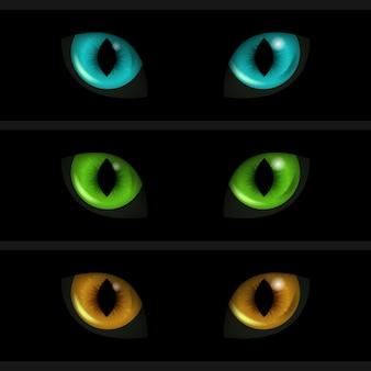 Cat eyes op zwarte achtergrond wordt geplaatst die