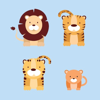 Cat family animal characters