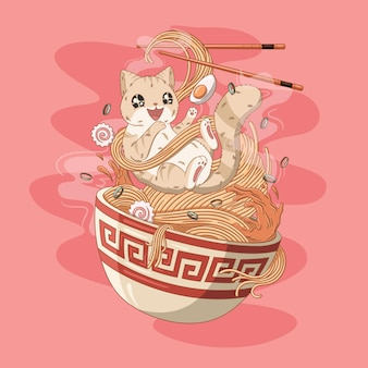 Cat love ramen noodles illustration