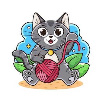 Cat play ball of yarn cartoon.