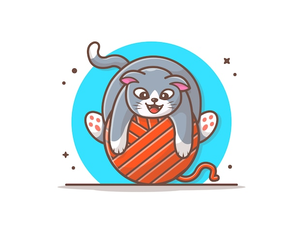 Cat playing with wool ball-illustratie
