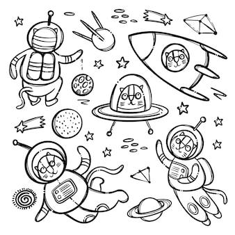 Cat ruimte zwart-wit schattig kosmisch reizend dier in ruimtepak en in raket onder planeten en sterrenbeelden van galaxy cartoon