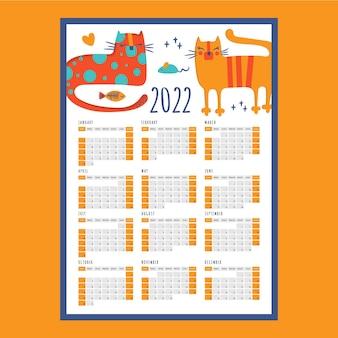 Cat sleeps kalender 2022 jaar afdrukbare sjabloon bedrijfsorganisator schemapagina