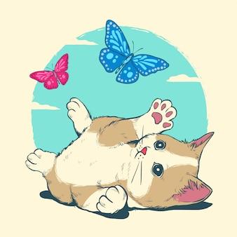 Cat spelen met vlinder