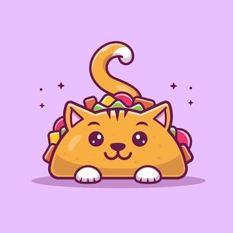 Cat taco mascot cartoon-illustratie. cute cat taco karakter.