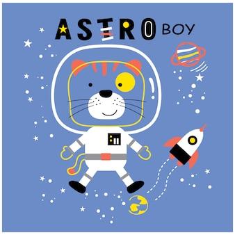 Cat the astro boy funny animal cartoon, vector illustration