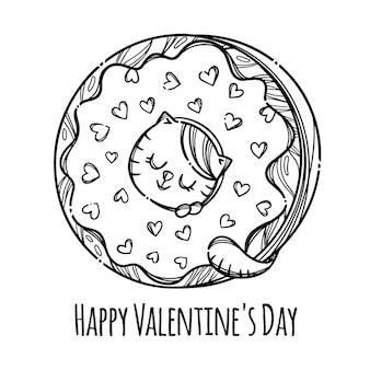 Cat valentine donut leuk katje stak zijn hoofd in donut sweet holiday cartoon
