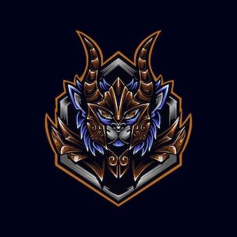 Cat warrior met hoorn logo mascot illustrator