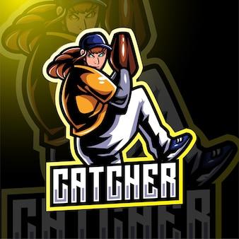 Catcher esport mascotte logo ontwerp