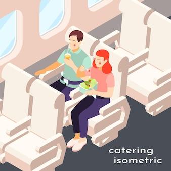 Catering in vliegtuig isometrische samenstelling met illustratie van fast food en dranken